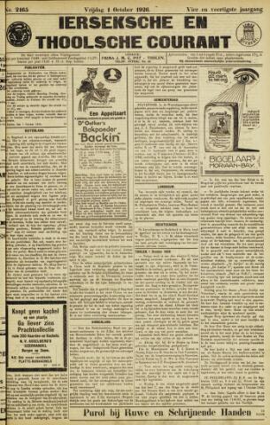 Ierseksche en Thoolsche Courant 1926-10-01