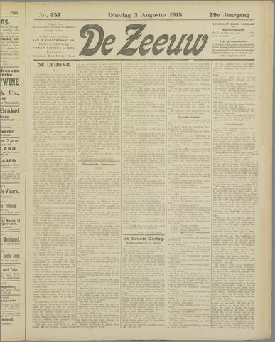 De Zeeuw. Christelijk-historisch nieuwsblad voor Zeeland 1915-08-03