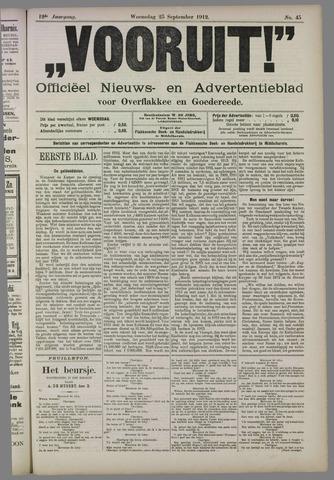 """""""Vooruit!""""Officieel Nieuws- en Advertentieblad voor Overflakkee en Goedereede 1912-09-25"""