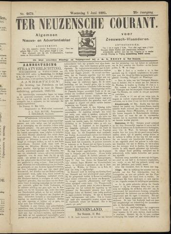 Ter Neuzensche Courant. Algemeen Nieuws- en Advertentieblad voor Zeeuwsch-Vlaanderen / Neuzensche Courant ... (idem) / (Algemeen) nieuws en advertentieblad voor Zeeuwsch-Vlaanderen 1881-06-01