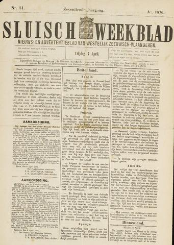 Sluisch Weekblad. Nieuws- en advertentieblad voor Westelijk Zeeuwsch-Vlaanderen 1876-04-07