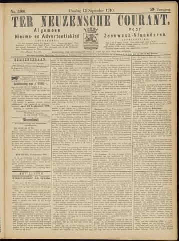 Ter Neuzensche Courant. Algemeen Nieuws- en Advertentieblad voor Zeeuwsch-Vlaanderen / Neuzensche Courant ... (idem) / (Algemeen) nieuws en advertentieblad voor Zeeuwsch-Vlaanderen 1910-09-13