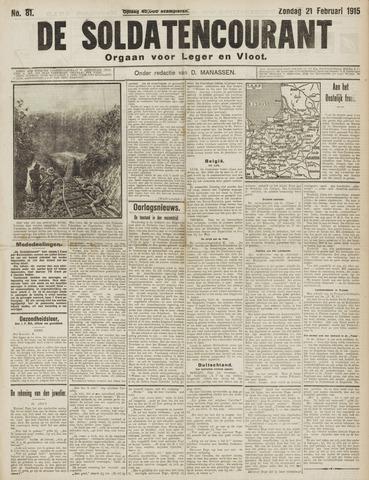 De Soldatencourant. Orgaan voor Leger en Vloot 1915-02-21