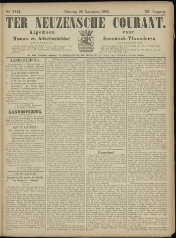 Ter Neuzensche Courant. Algemeen Nieuws- en Advertentieblad voor Zeeuwsch-Vlaanderen / Neuzensche Courant ... (idem) / (Algemeen) nieuws en advertentieblad voor Zeeuwsch-Vlaanderen 1885-11-28