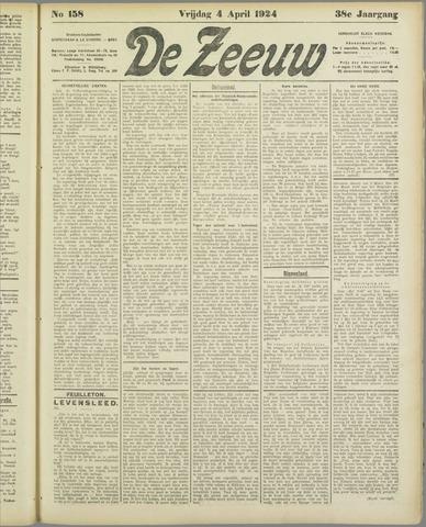 De Zeeuw. Christelijk-historisch nieuwsblad voor Zeeland 1924-04-04