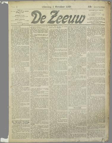 De Zeeuw. Christelijk-historisch nieuwsblad voor Zeeland 1918-10-01