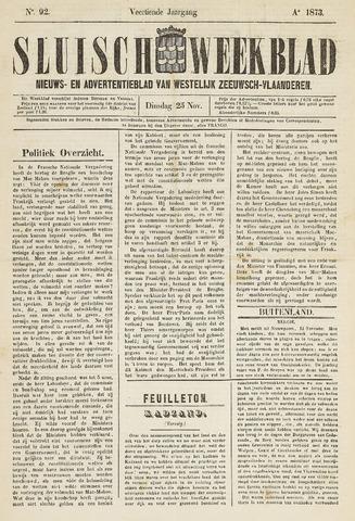 Sluisch Weekblad. Nieuws- en advertentieblad voor Westelijk Zeeuwsch-Vlaanderen 1873-11-25