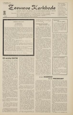 Zeeuwsche kerkbode, weekblad gewijd aan de belangen der gereformeerde kerken/ Zeeuwsch kerkblad 1962-12-07