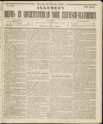 Ter Neuzensche Courant. Algemeen Nieuws- en Advertentieblad voor Zeeuwsch-Vlaanderen / Neuzensche Courant ... (idem) / (Algemeen) nieuws en advertentieblad voor Zeeuwsch-Vlaanderen 1870-11-12