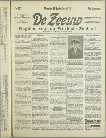 De Zeeuw. Christelijk-historisch nieuwsblad voor Zeeland 1930-09-15