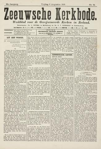 Zeeuwsche kerkbode, weekblad gewijd aan de belangen der gereformeerde kerken/ Zeeuwsch kerkblad 1915-08-06
