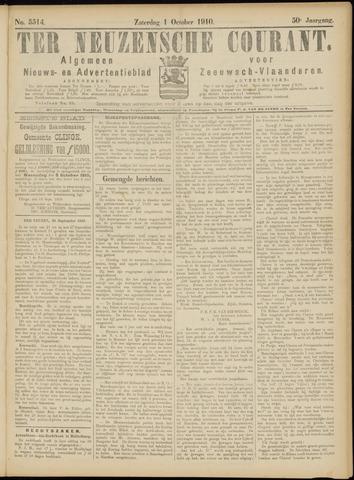 Ter Neuzensche Courant. Algemeen Nieuws- en Advertentieblad voor Zeeuwsch-Vlaanderen / Neuzensche Courant ... (idem) / (Algemeen) nieuws en advertentieblad voor Zeeuwsch-Vlaanderen 1910-10-01
