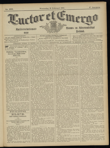 Luctor et Emergo. Antirevolutionair nieuws- en advertentieblad voor Zeeland / Zeeuwsch-Vlaanderen. Orgaan ter verspreiding van de christelijke beginselen in Zeeuwsch-Vlaanderen 1914-02-18