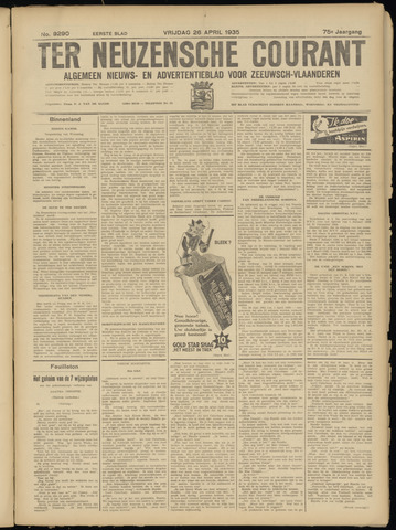 Ter Neuzensche Courant. Algemeen Nieuws- en Advertentieblad voor Zeeuwsch-Vlaanderen / Neuzensche Courant ... (idem) / (Algemeen) nieuws en advertentieblad voor Zeeuwsch-Vlaanderen 1935-04-26
