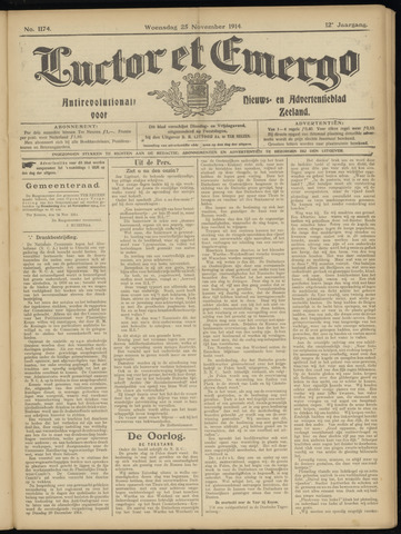 Luctor et Emergo. Antirevolutionair nieuws- en advertentieblad voor Zeeland / Zeeuwsch-Vlaanderen. Orgaan ter verspreiding van de christelijke beginselen in Zeeuwsch-Vlaanderen 1914-11-25
