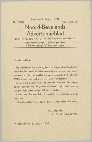 Noord-Bevelands Nieuws- en advertentieblad 1945