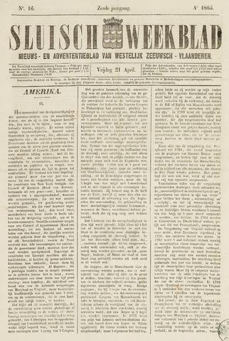 Sluisch Weekblad. Nieuws- en advertentieblad voor Westelijk Zeeuwsch-Vlaanderen 1865-04-21