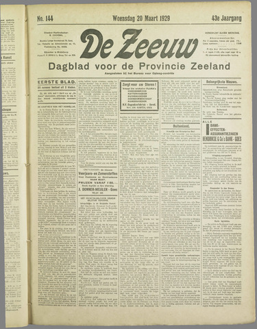 De Zeeuw. Christelijk-historisch nieuwsblad voor Zeeland 1929-03-20