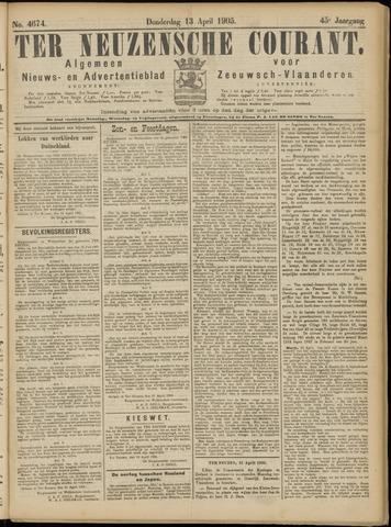 Ter Neuzensche Courant. Algemeen Nieuws- en Advertentieblad voor Zeeuwsch-Vlaanderen / Neuzensche Courant ... (idem) / (Algemeen) nieuws en advertentieblad voor Zeeuwsch-Vlaanderen 1905-04-13