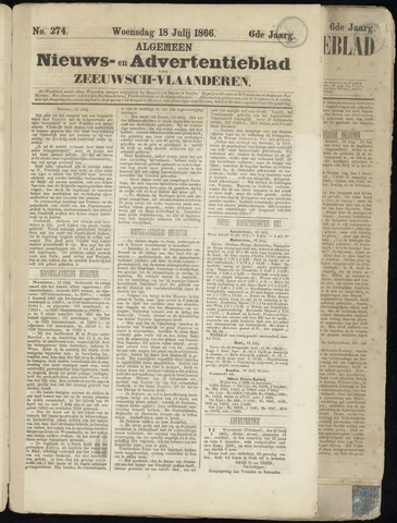 Ter Neuzensche Courant. Algemeen Nieuws- en Advertentieblad voor Zeeuwsch-Vlaanderen / Neuzensche Courant ... (idem) / (Algemeen) nieuws en advertentieblad voor Zeeuwsch-Vlaanderen 1866-07-18