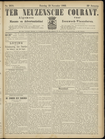 Ter Neuzensche Courant. Algemeen Nieuws- en Advertentieblad voor Zeeuwsch-Vlaanderen / Neuzensche Courant ... (idem) / (Algemeen) nieuws en advertentieblad voor Zeeuwsch-Vlaanderen 1893-11-25