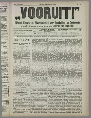 """""""Vooruit!""""Officieel Nieuws- en Advertentieblad voor Overflakkee en Goedereede 1916-10-14"""
