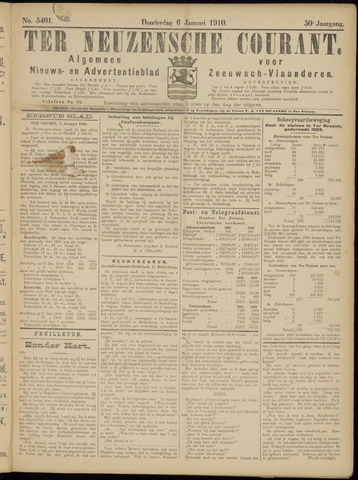 Ter Neuzensche Courant. Algemeen Nieuws- en Advertentieblad voor Zeeuwsch-Vlaanderen / Neuzensche Courant ... (idem) / (Algemeen) nieuws en advertentieblad voor Zeeuwsch-Vlaanderen 1910-01-06