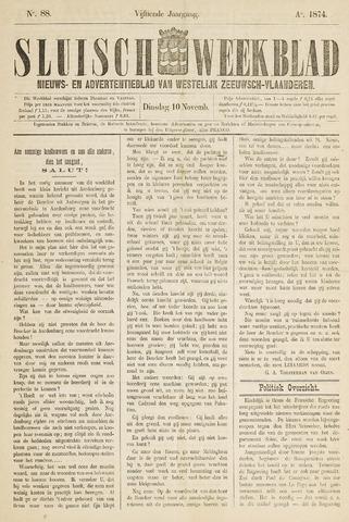 Sluisch Weekblad. Nieuws- en advertentieblad voor Westelijk Zeeuwsch-Vlaanderen 1874-11-10
