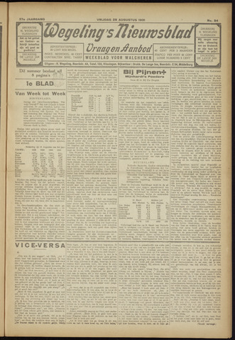 Zeeuwsch Nieuwsblad/Wegeling's Nieuwsblad 1931-08-28