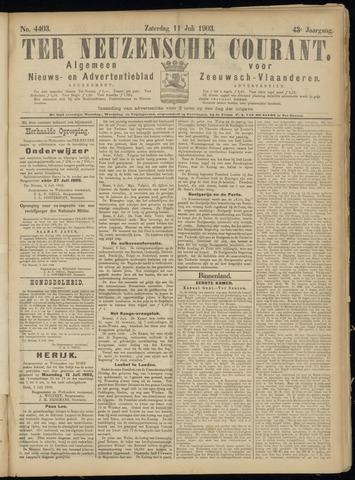 Ter Neuzensche Courant. Algemeen Nieuws- en Advertentieblad voor Zeeuwsch-Vlaanderen / Neuzensche Courant ... (idem) / (Algemeen) nieuws en advertentieblad voor Zeeuwsch-Vlaanderen 1903-07-11