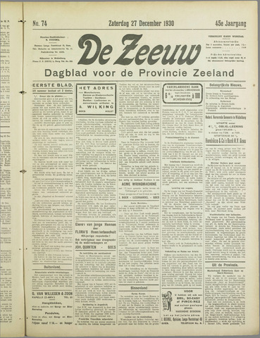 De Zeeuw. Christelijk-historisch nieuwsblad voor Zeeland 1930-12-27