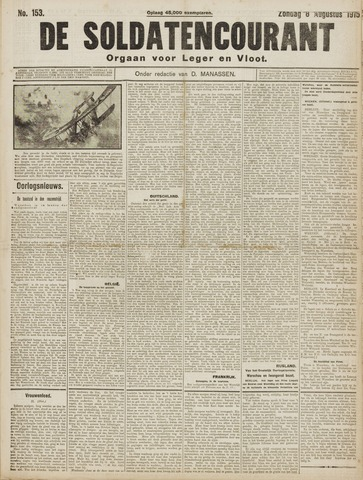 De Soldatencourant. Orgaan voor Leger en Vloot 1915-08-08