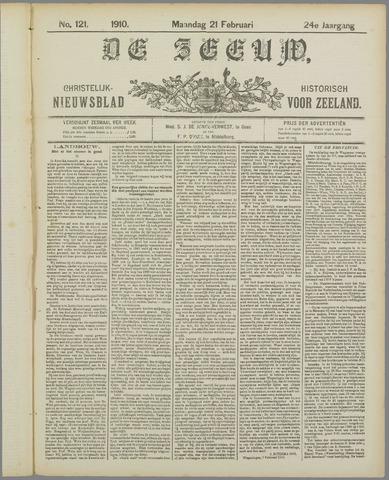De Zeeuw. Christelijk-historisch nieuwsblad voor Zeeland 1910-02-21
