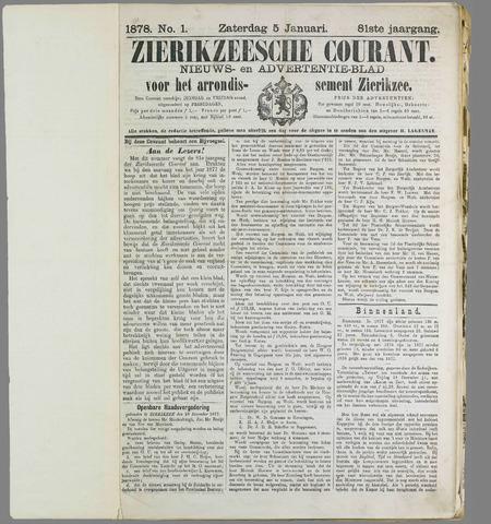 Zierikzeesche Courant 1878