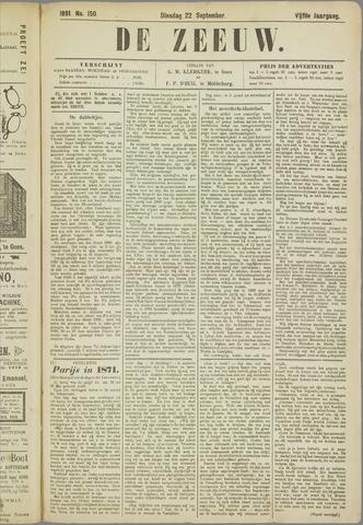 De Zeeuw. Christelijk-historisch nieuwsblad voor Zeeland 1891-09-22
