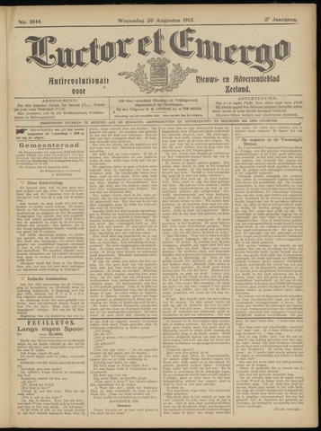 Luctor et Emergo. Antirevolutionair nieuws- en advertentieblad voor Zeeland / Zeeuwsch-Vlaanderen. Orgaan ter verspreiding van de christelijke beginselen in Zeeuwsch-Vlaanderen 1913-08-20