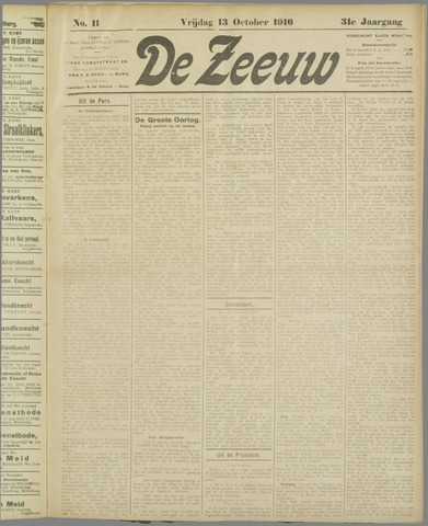 De Zeeuw. Christelijk-historisch nieuwsblad voor Zeeland 1916-10-13