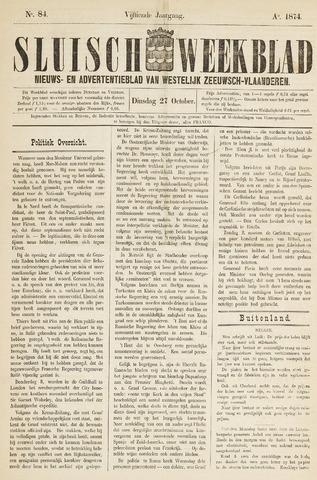 Sluisch Weekblad. Nieuws- en advertentieblad voor Westelijk Zeeuwsch-Vlaanderen 1874-10-27