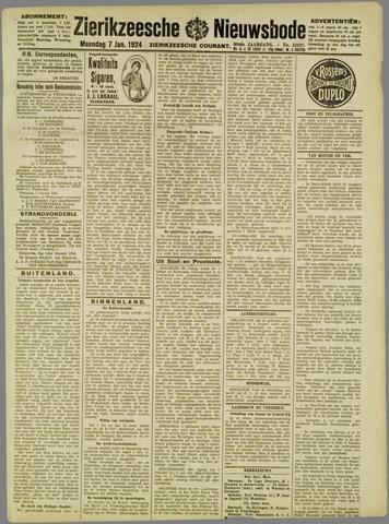 Zierikzeesche Nieuwsbode 1924-01-07