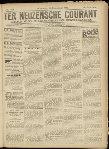 Ter Neuzensche Courant. Algemeen Nieuws- en Advertentieblad voor Zeeuwsch-Vlaanderen / Neuzensche Courant ... (idem) / (Algemeen) nieuws en advertentieblad voor Zeeuwsch-Vlaanderen 1926-09-22