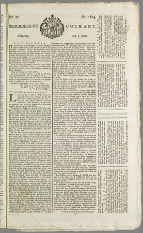 Zierikzeesche Courant 1814-04-05