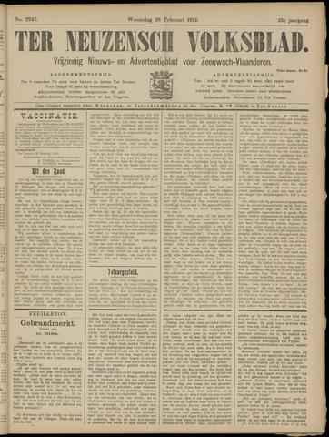 Ter Neuzensch Volksblad. Vrijzinnig nieuws- en advertentieblad voor Zeeuwsch- Vlaanderen / Zeeuwsch Nieuwsblad. Nieuws- en advertentieblad voor Zeeland 1912-02-28