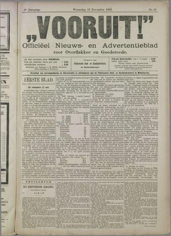 """""""Vooruit!""""Officieel Nieuws- en Advertentieblad voor Overflakkee en Goedereede 1905-11-15"""