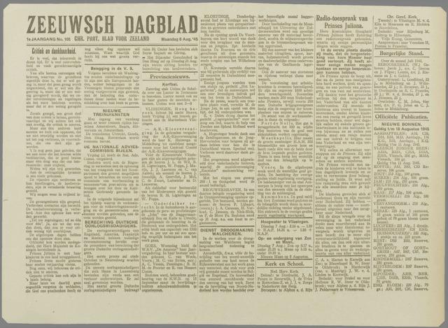 Zeeuwsch Dagblad 1945-08-06