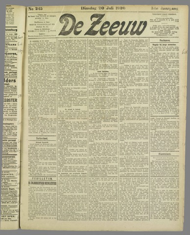 De Zeeuw. Christelijk-historisch nieuwsblad voor Zeeland 1920-07-20