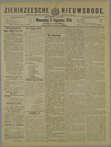 Zierikzeesche Nieuwsbode 1914-08-05