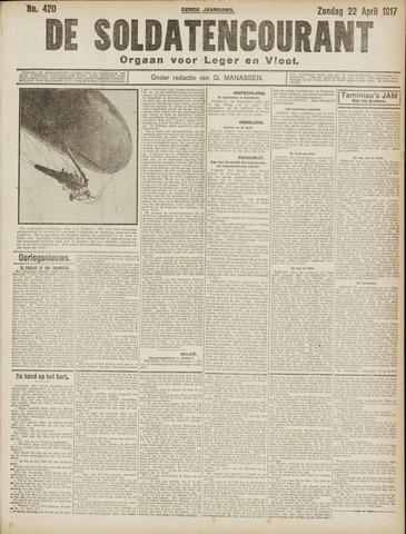 De Soldatencourant. Orgaan voor Leger en Vloot 1917-04-22
