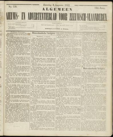 Ter Neuzensche Courant. Algemeen Nieuws- en Advertentieblad voor Zeeuwsch-Vlaanderen / Neuzensche Courant ... (idem) / (Algemeen) nieuws en advertentieblad voor Zeeuwsch-Vlaanderen 1872-08-03