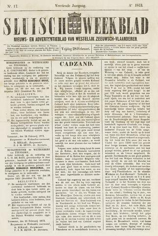 Sluisch Weekblad. Nieuws- en advertentieblad voor Westelijk Zeeuwsch-Vlaanderen 1873-02-28