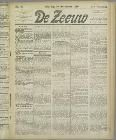 De Zeeuw. Christelijk-historisch nieuwsblad voor Zeeland 1918-11-26